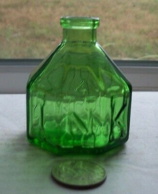 Nice Green Ink Bottle Embossed, Ink (8 Sided)