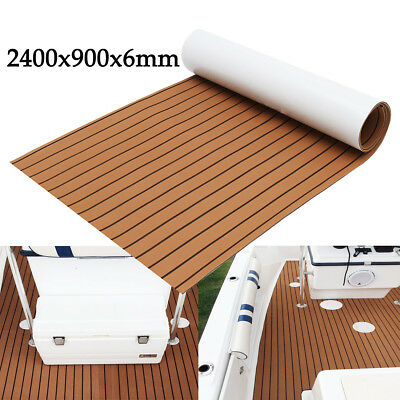 2400x900x6mm Marine Flooring Faux Teak EVA Foam Boat Yacht Decking Sheet Brown