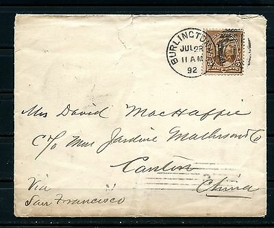 1892 cover from Burlington/USA to Canton with Hong Kong transit. RARE