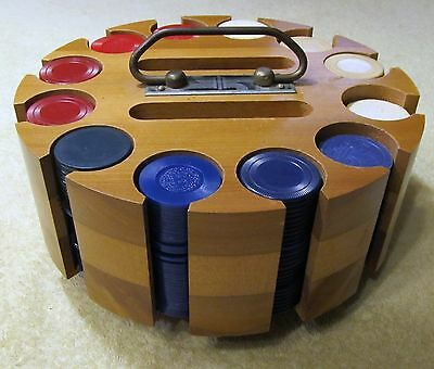 Vintage Poker Chip Set With Wood Carousel, Caddy & Cover, 330 Various Chips