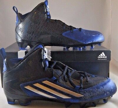 New Adidas Crazyquick 2.0 Mid Size 12.5 Football Cleats Black /Royal Blue S83957