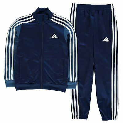 adidas Kids Boys Tiberio Tracksuit Junior Poly Funnel Track Jacket Top Bottoms