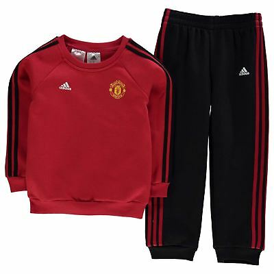 adidas Kids Manchester United Jogging Suit Infant Tracksuit Bottoms Top Full Zip