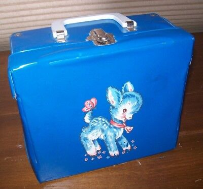 EUC Blue Fawn Butterfly Vinyl Lunchbox Made By Neevel Lunch Box