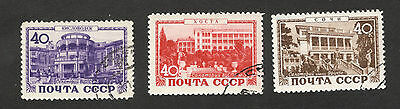Soviet Union-RUSSIA-3 USED STAMPS-Spa resorts in the USSR-1949.