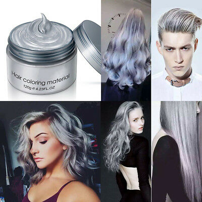 DIY Hair Color Silver Ash Grey Unisex Temporary Modeling Cream Wax Mud Dye