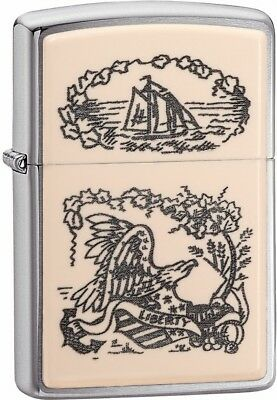 Zippo Choice Scrimshaw Liberty Eagle WindProof Lighter Brushed Chrome 29517 New