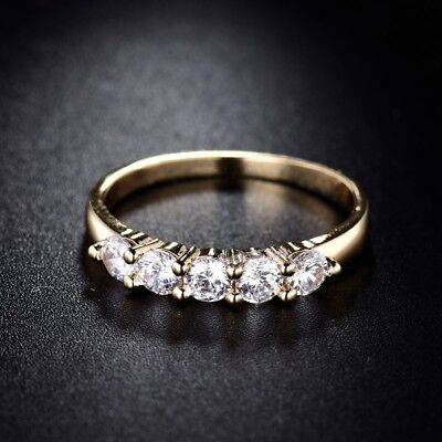 Delightful Gift 18K Gold Filled Round White Cubic Zirconia Band Ring Sz5-Sz8.5