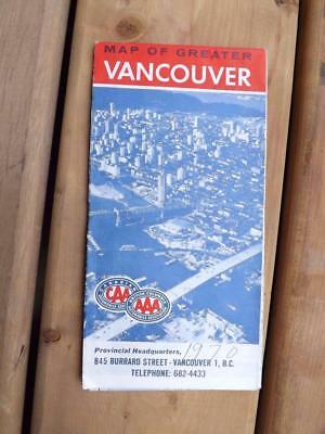 Map Of Greater Vancouver Caa Aaa Advertising 1970