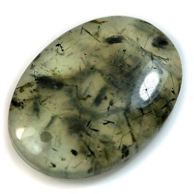 Natural Rutilated Prehnite FRONT DRILLED Oval Pendant Bead Collection
