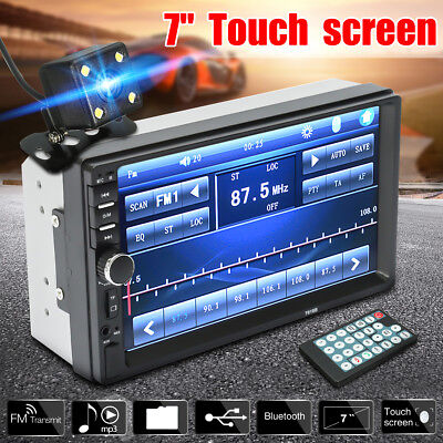 7'' Touch Car MP5 Player Stereo Radio 2 Din In Dash Bluetooth FM AUX USB+ Camera