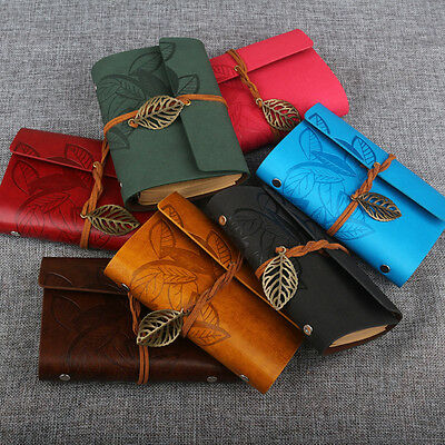 Fashion String Leaf Leather Notebook Travel Journal Book Sketchbook Diary Paper