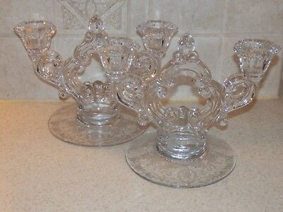 Cambridge Glass Diane Pair 2 Light Candlesticks Excellent Condition