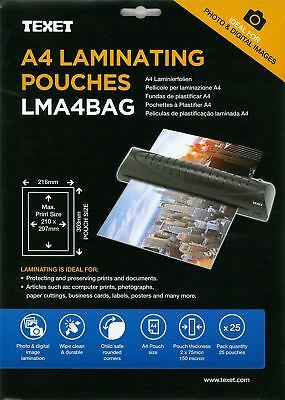 Texet Laminating Pouches A4 25 Pack
