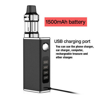50W Tank Vape Kit Electronic Vape E Pen Cigarettes Mini Starter Kit w/ Battery