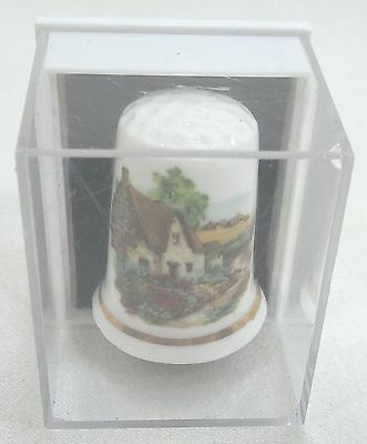 Vintage Collectible Souvenir Thimble Bone China Forest China Company Cottage New