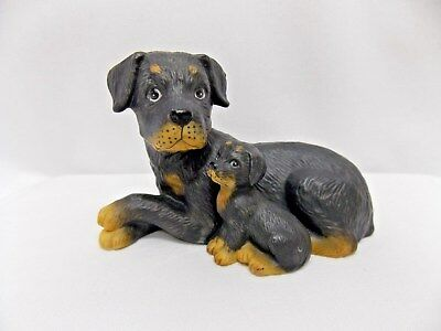 Rottweiler Dog & Pup Laying Figurine Porcelain 1424-97 Home Interior 4x2 3/4 In