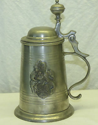Vintage Medieval Portugal Pewter Beer Stein w/ Coat of Arms Knight's Helmet