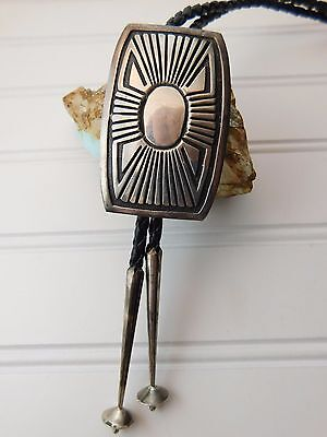 Vintage Southwestern Hand Tooled Sterling Silver Geometric Overlay Bolo Tie