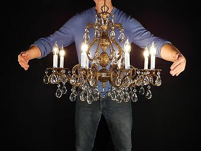MASSIVE Antique French Bronze Finish Lead Cut Crystal Pineapple Chandelier