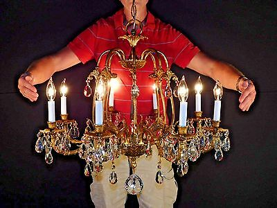 MASSIVE Antique French Brass Bronze 8 Lite Cut Lead Crystal Birdcage Chandelier