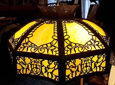 ANTIQUE SLAG - STAINED GLASS HANGING LAMP - 16 Panel -1920s