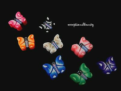100 Fimo Butterflies Polymer Clay Assorted Color Mix 8-9mm Butterfly Beads