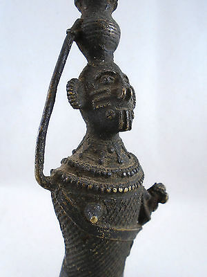 African Sand Cast Bronze Bamileke Tribe Woman Feeding Infant