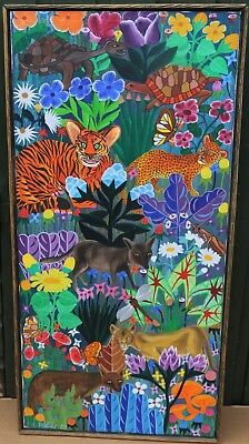 Unusual Framed Bright Childlike Painting On Canvas Of Animals Etc Signed & 77