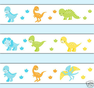 Dinosaur Wallpaper Border Decals Wall Art Baby Nursery Stickers Footprint Tracks