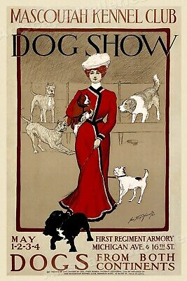 Chicago 1901 Vintage Dog Show Poster - Mascoutah Kennel Club - 20x30