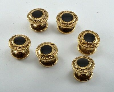 Vintage Lot 6 Men's Black Glass Gem Gold Plated Collar Button Stays Studs Nwot