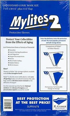 50 Mylites 2 Standard Size Mylar Comic Bags Storage Protective Sleeves E. Gerber