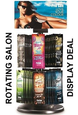 New 2018 Pro Tan Sun Bed Tanning Lotion Rotating Salon Display Deal 144 Sachets