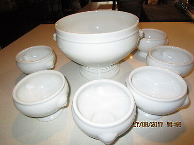 PILLIVUYT  France Provincial PORCELAIN SOUP TUREEN Bowl With Six matching  BOWLS