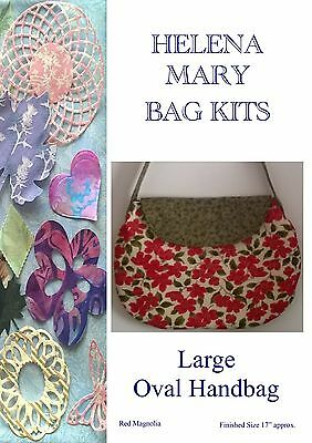 Helena Mary Bag Making Kit Complete Kit - Large Oval Handbag - Red Magnolia