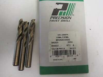 3-Precision 040323 23/64 x 1-3/4 x 3-1/16 M40CO Screw Machine Length Bits New