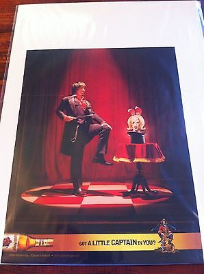 Original 2004 Captain Morgan Magician Pulling Assistant Out Of Hat Print Art ad