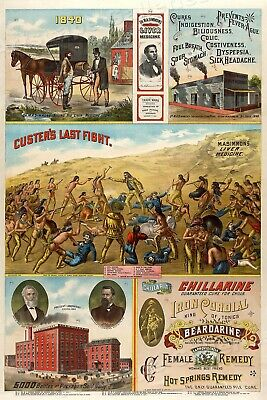 1886 Dr. M A Simmons Classic Patent Liver Medicine Advertisement Poster - 20x30