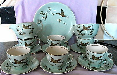 15pc Alfred Meakin Celadon Green PHEASANT Tea Set