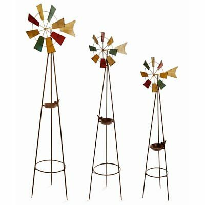 Superieur Set Of 3 Large Metal Garden Windmills