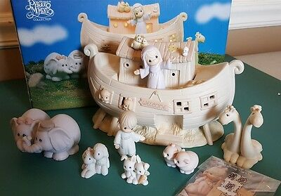 Enesco Precious Moments NOAH'S ARK Nighlight Set TWO BY TWO 8 Piece In Boxes