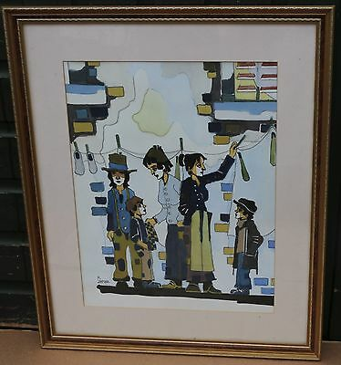 Unusual Large Gilt Framed & Glazed Painting Of People Etc By A Zapora