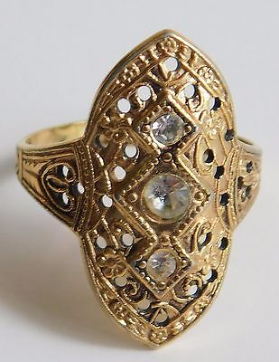 Vintage Seta Fashion Ring Gold Plated with 3 Faceted Rhinestones Size 8.5