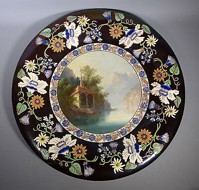 Large 16 Inch Thoune Swiss Art Pottery Charger With Hand Painted Lake Scene