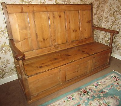 19th Century High Back Pine Box Settle (see details)