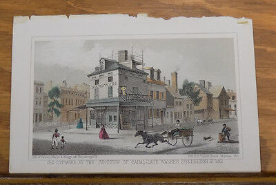 1861 Antique COLOR Print/NEW YORK CITY, HARDWARE STORE, CANAL & DIVISION STREETS