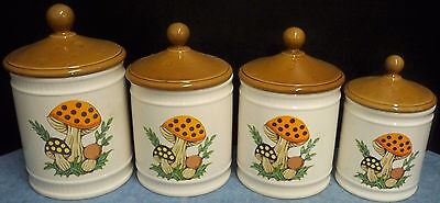 Vtg 1982 Merry Mushroom Canisters Sears Roebuck & Co 4 Pieces & Lids Ceramic