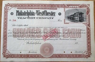 Trolley/Railroad 1890 Stock Certificate-Philadelphia & West Chester Traction Co.