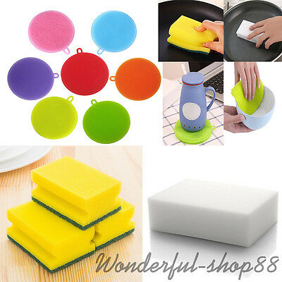 Lots Multi-functional Spong Eraser Brush Foam Dish Wash Home Kitchen Cleaning